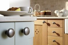 Burbidge's Erin Kitchen in Character Natural Oak and painted in Gooseberry - Cupboards and Drawers