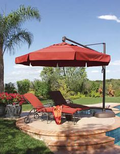 Outdoor Patio Umbrellas - help shade me from the sun so I don't get cancer. Everything you need to know before you purchase an umbrella for your outdoor space Outside Furniture, Pool Furniture, Outdoor Furniture, Outdoor Decor, Outdoor Stuff, Outdoor Spaces, Outdoor Living, Outdoor Patios, Outdoor Patio Umbrellas