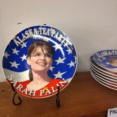 Design that doesn't work: Sarah Palin plate  I came across this in Skagway. This design is not working for me. Her head is poorly placed in the design - you can see a hard edge around her head. I don't understand the message or impact that eating off of her face is suppose to communicate. Is this suppose to make me want to vote for her or be happy that I wouldn't?