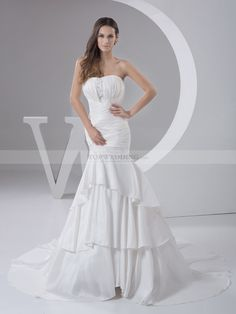 Strapless Pleated Taffeta Wedding Dress in Mermaid Style