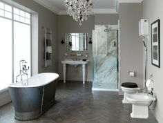 Gorgeous bathroom with shimmering grey tones #cphart50shades