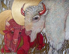 White Buffalo / Red Buffalo / Bison Animal Art Nouveau Artwork by Lynnette Shelley. $30.00, via Etsy.