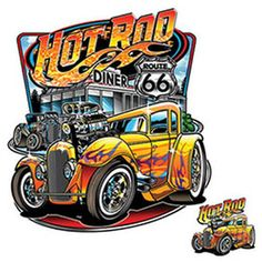 Hot Rod Diner Adult Unisex Adult Quality Car Quality Short Sleeve T Shirt Route 66, Rat Rod Cars, 1966 Gto, Chevrolet Trailblazer, Iron On Fabric, Garage, Best Muscle Cars, Car Posters, Car Drawings
