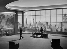 Office from The Fountainhead, 1949  Art Direction: Edward Carrere, Set Decoration: William L. Kuehl