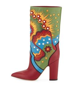 S0FE7 Valentino Enchanted Wonderland Leather Boot, Scarlet/Light Blue