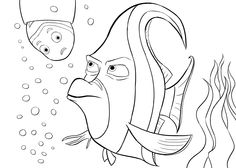 Aquarium Finding Nemo coloring pages for kids, printable free