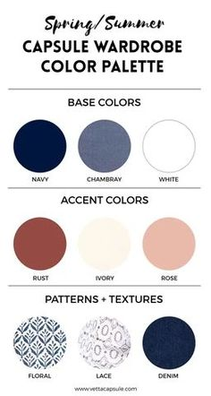 This is part of our series on Building a Capsule Wardrobe. In this post, we'll be talking about creating a color palette for. color Create a Wardrobe Color Palette - VETTA Spring Color Palette, Spring Colors, Color Palettes, Deep Winter Colors, Colour Schemes, Minimalist Wardrobe, Minimalist Fashion, Summer Minimalist, Minimalist Living