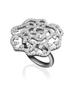 Cellini Jewelers Open Work Rose Ring with round Brilliant, mounted in 18k White Gold