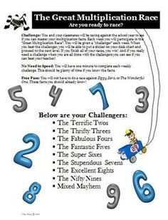 Multiplication Facts Practice: The Great Multiplication Race! $