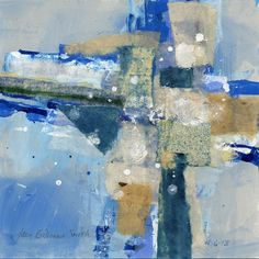 Joan Gillman Smith: Snow in April, mixed media, acrylic and collage of painted papers, 8x8 inches.