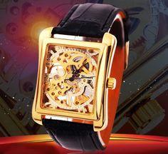 Herrklocka Winner - Polygon Guld #winner #skeleton #armbandsur #klocka #klockor #herrklocka #herrklockor #runns #watch #watches