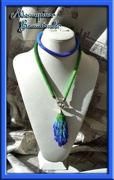 Купить Сотуар-трансформер Павлиний хвост - разноцветный, градиент, украшение на шею, лариат, сотуар