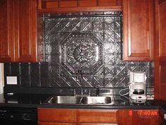 Affordable Kitchen Makeovers With Decorative Ceiling Tiles And Tin Backsplashes