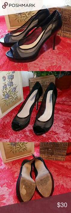 Open Toe Mesh Heels Leather back, inside, and Sole Mesh and heel is man made material 1 1/2 inch platform front  4 Inch heel Skinny heel Some minor scuffs on lower portion of platform Sole is scuffed like all Italian leather soles get Overall in great condition classiques entier  Shoes