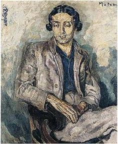 A portrait of young Rabindranath Tagore painted in 1935 by Mela Muter (1886-1967). Oil painting on canvas.