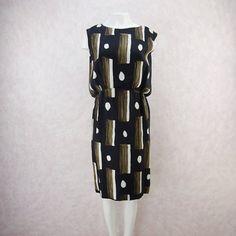 Vintage 90s Novarese Silk Geometric Print Dress f