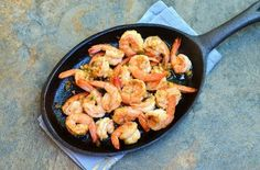 Spicy Garlic Shrimp (Gambas al Ajillo) - Onion Rings & Things Fish Dishes, Seafood Dishes, My Favorite Food, Favorite Recipes, Spicy Garlic Shrimp, Dutch Oven Recipes, Party Food And Drinks, Happy Foods, I Foods