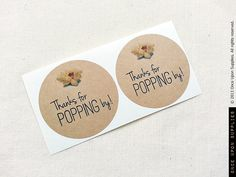 40 Popcorn Favor Labels. Thanks for Popping by OnceUponSupplies, $21.00