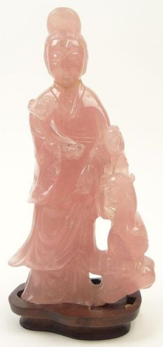 LRG Finely Carved Chinese Pink Rose Quartz Crystal Carving OF Guanyin 20th C