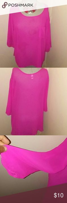 Beautiful Hot Pink Blouse Plus Size...2x... Silky, Material...Round Neck Design... Mid length Sleeves... I am 5ft 5 and 5 and this top comes past my Stomach area... Tops Blouses