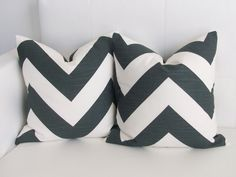 18x18 Large Chevron Charcoal Throw Pillow Covers - Set of 2. $38.00, via Etsy. (need 20x20)