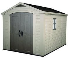 Keter Factor Outdoor Plastic Garden Storage Shed, 8 x 11 feet - Beige