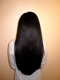 Long black  straight hair