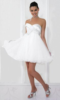 Sweetheart Bubble White Baby Cocktail Dress