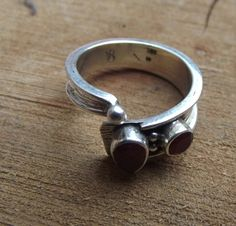 925 sterling silver ring with 2 ruby stones by silveringjewelry