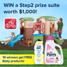 Backyard Fun in the Sun! Win a Step2 prize suite worth $1000, Dial Baby Body+Hair Wash, and Purex Baby Laundry Detergent!