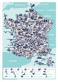 New Map of France by Famille Summerbelle available at EuropeanMarket.US
