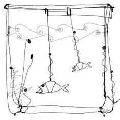 Calder- Aquarium et poisson en fil de fer. (Nynke)