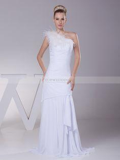 Modestine - robe de mariée sirène Épaule asymétrique en mousseline polyester avec ruché