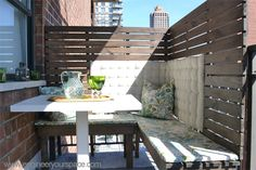 Cozy DIY Corner Dining Booth on a Small Manhattan Balcony :: Hometalk