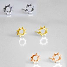 Selectable Gold Over 925 Sterling Silver Sun Stud Earrings #adorablejewelry #Stud