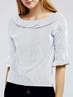 Elegant Flare Sleeve Striped Blouse For Women