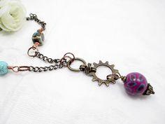 Handmade Lariat Necklace Purple Beaded by LittleBitsOFaith on Etsy, $25.00