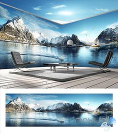 Image of Snow Mountain Lake Theme Space entire room wallpaper wall mural decal 3d Wallpaper Decor, Floor Wallpaper, Kids Wallpaper, Wallpaper Wallpapers, Wall Mural Decals, Wall Art Prints, Ceiling Murals, Ceiling Paper, Sun And Earth