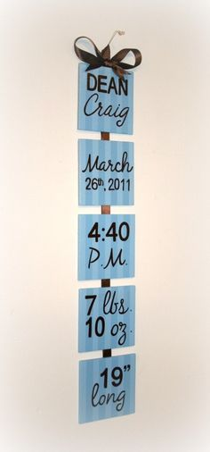 Adorable - but I would turn this horizontal and instead of put them onto ribbon, put them onto a nice, sculpted piece of wood. Use either stencils are stickers for the words/numbers Cheap!