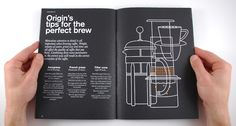 Spread from Origin Coffee brand book, design by A-Side studio
