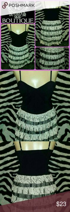 SASSY FLIRTY LACE GLAM GOTH BLACK STRAPPY DRESS SWEET FLIRTY FEMME but SASSY lil JETT BLACK & WHITE LACE layer ruffle spaghetti strap dress...its in ABSOLUTE EXCELLENT pre-luved condition and SIZE-SMALL in jr/miss Dresses