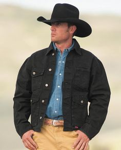 "Schaefer Black Mesquite Jacket ""gifts for cowboys"" ""gifts for men"" drysdales.com ""rancher's jacket"" rugged durable work clothes workwear western menswear for cowboys"
