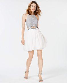 Speechless Juniors' Rhinestone Cutout Fit & Flare Dress