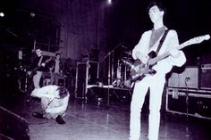 Johnny Marr, Morrissey and Andy Rourke on stage with The Smiths at Royal Court Theatre, Liverpool, England on February 8, 1986 — photographer unknown (image via Morrissey-solo).