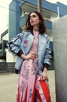 Lily Collins Style, Outfit Work, Great Hair, Hollywood Actresses, Celebrity Crush, Bomber Jacket, Random, Celebrities, Girls