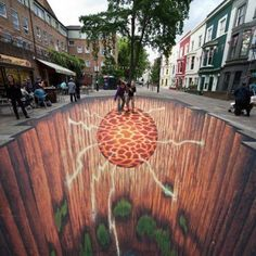 3D chalk art, this is so cool.