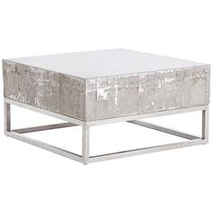 Barnard White Wash Concrete and Chrome Square Coffee Table - Style # Unique Coffee Table, Modern Table, Contemporary Interior, Restoration Hardware, Living Spaces, Living Room, Chrome, Furniture, Concrete