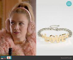 Chanel 3's LOVE choker on Scream Queens. Outfit Details: https://wornontv.net/63425/ #ScreamQueens