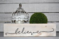 believe handpainted mini pallet sign by blissfulpickens on Etsy