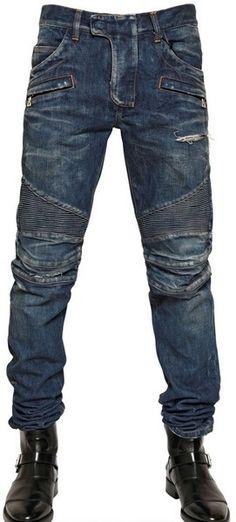 Balmain Ripped Washed Denim Biker Jeans